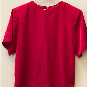 Jack Mulqueen Red Short Sleeve Keyhole Back Blouse